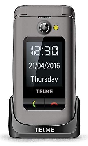 Emporia TellMe X200 Grosstasten-Klapphandy (mit Farbdisplay Aussendisplay Notruftaste VGA-Kamera), Spacegrau