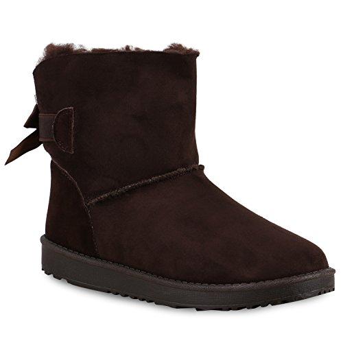 Damen Schuhe Schlupfstiefel Boots Warm gefüttert Dunkelbraun Schleife