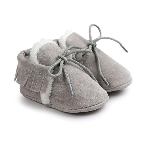 Moresave , {Chaussures premiers pas pour bébé (garçon) gris clair