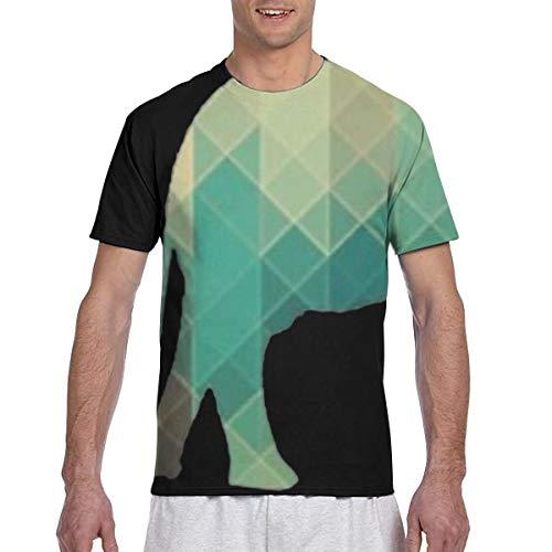 Camiseta de Manga Corta para Hombre con Estampado geométrico de Elefante Camisetas Deportivas con Cuello Redondo