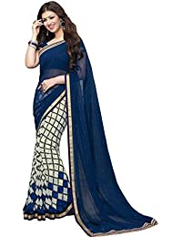 Sarees (Finix Fashion Women's Clothing Georgette Chiffon Printed New Material's In Blue Color Bollywood Stylish...