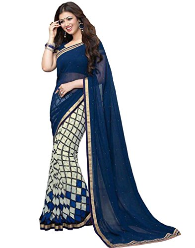 Sarees (Finix Fashion Women's Clothing Saree For Women Latest Design Wear Sarees New Collection in Blue And White Checks Color Georgette Chiffon Printed Material Latest Fashion Saree With Designer Blouse Free Size Beautiful Bollywood Fashion Style Saree For Women Party Wear Offer Designer Sarees With Blouse Piece)  available at amazon for Rs.699