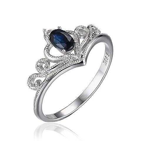 JewelryPalace Krone 0,3ct Oval Echtes Saphir Engagement Jahrestag Versprechen Ring 925 Sterling Silber