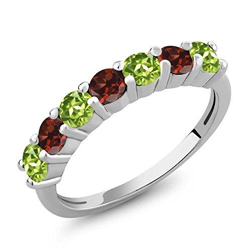 Gem Stone King  -  Sterling-Silber 925  Sterling-Silber Rundschliff   rot grün Grenat Péridot (Saphir-diamant-jubiläum-band)