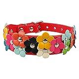 Feidaeu Pet Halsbänder Cute Flower Leather verzierte Dekoration Hunde oder Katze hautfreundliche, gesunde und sichere Halsketten für kleine mittelgroße Haustiere