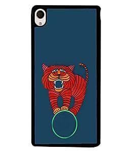 Printvisa Designer Back Case Cover for Sony Xperia M4 Aqua :: Sony Xperia M4 Aqua Dual (Ring Balancing Cat Tiger Ferocious)