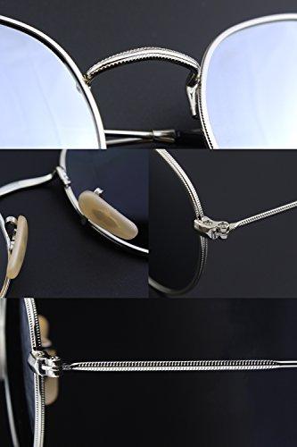 CGID E47 Petites lunettes de soleil polarisées inspirées du style retro vintage Lennon en cercle métallique rond Argenté Argenté