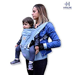 HANLINE LITTLECUDDLES 3-in-1 Ergonomic Baby Carrier Backpack [4 Colours: Turquoise-Blue-Grey] - High Quality/Breathable/Easily Adjustable Fabric - for 0-3 Years Navy Blue (Turquoise)   15