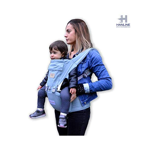 HANLINE LITTLECUDDLES 3-in-1 Ergonomic Baby Carrier Backpack [4 Colours: Turquoise-Blue-Grey] - High Quality/Breathable/Easily Adjustable Fabric - for 0-3 Years Navy Blue (Turquoise) Hanline LittleCuddles 👶 WE ONLY USE HIGH QUALITY MATERIALS: Hanline LittleCuddles is committed to selecting high quality fabrics to make the use of our baby bags more comfortable and safe. The light cotton combined with the soft padded material which is pleasant to the touch increase the comfort of the newborn and parents. On summer days, you can open the front zip which facilitates the passage of air inside the fabric, thanks to the soft breathable mesh fabric. 📃 CERTIFIED AND TESTED SAFETY: The Hanline baby carrier features a soft HIP seat which makes your baby's position ergonomic and safety. In addition, there are various soft fabric parts that eliminate pressure on the baby's body and the wearer. 🔝 3 PRODUCTS IN 1: The ergonomic 3 in 1 baby carrier can be worn in different positions that best adapt to the different stages of growing baby. 1