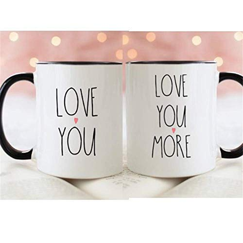 12 Oz White Foam Cups (WYYCLD - Cute Engagement, Wedding, Anniversary Or Love You, Love You More, Couples Mug Set, 11oz Ceramic Coffee Mug, Unique Gift)
