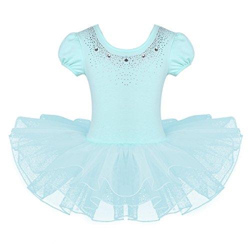 YAFEIYA Mädchen Netz Kurze Hauchhülsen glänzende Strass Ballett Tanz Gymnastik Strumpfhosen Ballerina Mädchen Pettiskirt Kleid für Mädchen,Blue,110 -