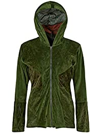 baab8670abcc2b Wicked Dragon Embroidered Velvet Patchwork Hooded Jacket up to Plus Size  Green
