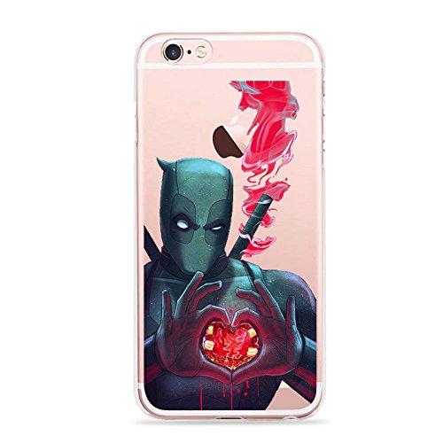 Deadpool Telefon Hülle/Case Gel TPU Abdeckung für iPhone 5 / 5s / SE mit Display Schutz / EJC Avenue / Einhorn Herz