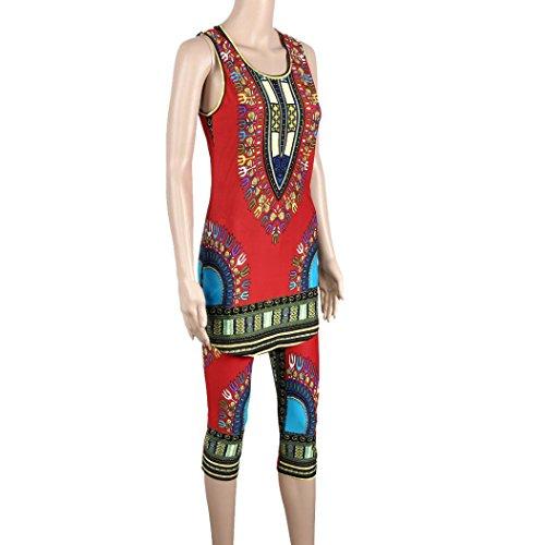 Fulltime®Débardeur Femmes Vintage African Tribal Print Elastic gaine et pantalon 2 Piece Set Rouge