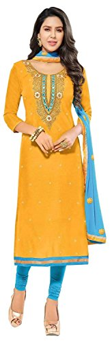 Aarvicouture Women's Yellow Chanderi Cotton Embroidery Salwar Suit Dress Material