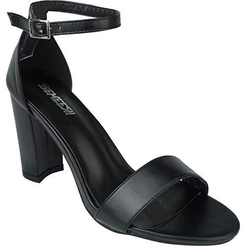 BeMeesh Scarpe Tacco Alto Cinturino alla Caviglia Donna Punta Aperta Tacco Grosso