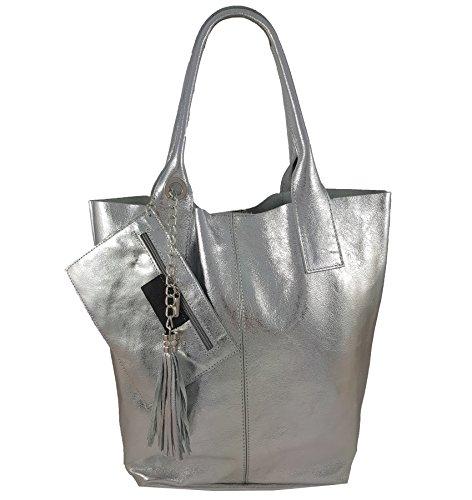 Freyday Damen Echtleder Shopper mit Schmucktasche in vielen Farben Schultertasche Henkeltasche Handtasche Metallic look (Silber Metallic)