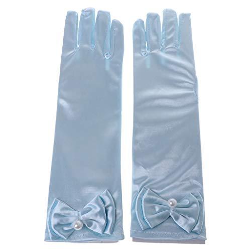 JOYKK Kinder Lange Handschuhe Bow Knot Prom Finger Satin Elbow Kostüm Princess Sleeves Girls - Sky ()
