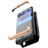 Robinsoni Funda Compatible con Huawei Honor 8X Funda de PC híbrida 360 Grados Protección Case + Pantalla de Cristal Templado 3 in 1 Anti-Arañazos Carcasa Silicona Case Teléfonos Móviles Oro & Negro