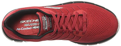 Skechers Flex 2.0, Baskets Homme Rouge (Red/black)