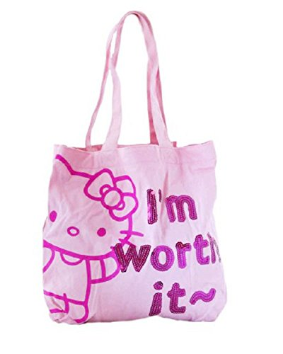 Sac shopping Hello Kitty pour femme - Sac à main porté épaule en tissu rose original du chat manga - H 34 x L 34 cm
