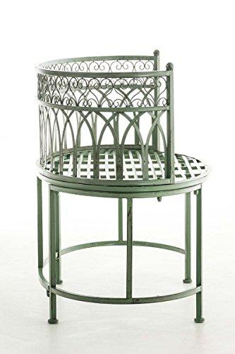 CLP Metall-Gartenbank AMANTI mit Armlehne, Landhaus-Stil, Eisen lackiert, Design antik nostalgisch, Form oval ca. 110 x 55 cm Antik Grün - 3