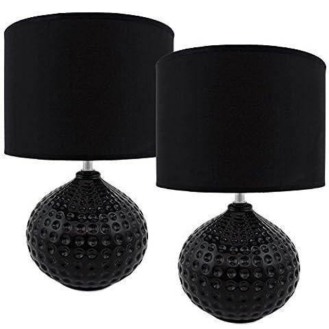 BRUBAKER Lampe de table / de chevet - Lot de 2 - Pied en Céramique Noir brillant - Abat-jour Noir - Design moderne - Hauteur 35 cm