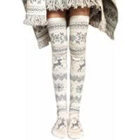 Medias para mujer Microfibra Medias Pantimedias mujer Sannysis Navidad Calcetines sobre la rodilla Xmas de Tejer Medias Calcetines hasta la rodilla Medias largas hasta el muslo
