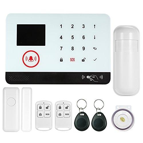 OWSOO Kit d'Alarme Standard,WiFi + GSM Hôte d'Alarme à Écran Tactile,Soutenir Le Contrôle de l'Application Mobile Supoort Amazon Alexa Intelligent Voice Control