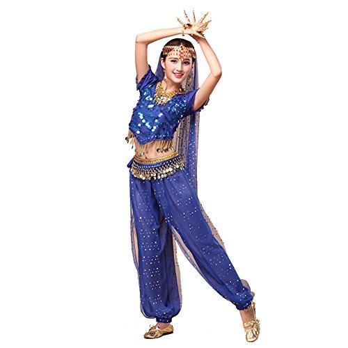 Tanz Outfits Tanzkleidung Bauchtanz Kostüm Set Stammes- Indischer Tanz Bra Top & Paillette Bauchtanz Hose Münzen dark (Indische Hosen Kostüme)