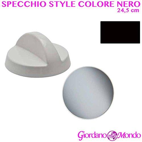 Specchio portatile per parrucchiere barbiere retrovisore professionale Ø 24,5 cm bianco o nero (nero)