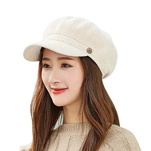 JMETRIC Damen Schirmmütze|Flache Kappe| Modemütze|Herbst Winter-mütze | Chenille Mütze Trend