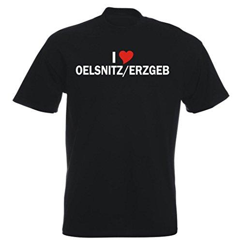 T-Shirt - i Love Oelsnitz/Erzgeb - Herren - unisex Schwarz
