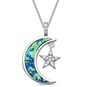GH* Opal Mond Zirkonia Stern ANHÄNGER mit KETTE 925 Echt Silber Kinder Mädchen Damen Geschenkidee CH0021
