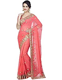 SareeShop Women's Georgette Embroidered Saree With Blouse Piece(Darpanpink-SAREE01_Pink_COLOUR)