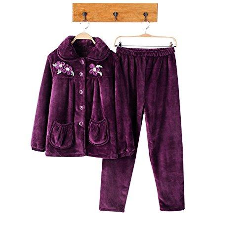 QPALZM Mme Hiver Chaud Corail Pyjama épais De Velours purple