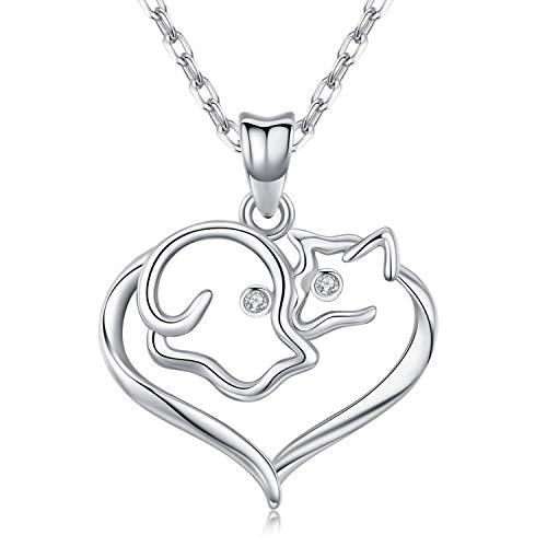 Ninastone Herz Halsketten für Frauen, Hund und Katze Liebe Silber Kette Damen, Schmuck Geschenke für Haustier-Liebhaber -