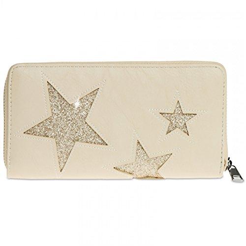 CASPAR GB715 Portefeuille pour femme avec motif étoiles, Couleur:beige - Stern glitzer gold;Taille:One Size