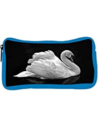 Snoogg Eco Friendly Canvas White Swan Designer Student Pen Pencil Case Coin Purse Pouch Cosmetic Makeup Bag