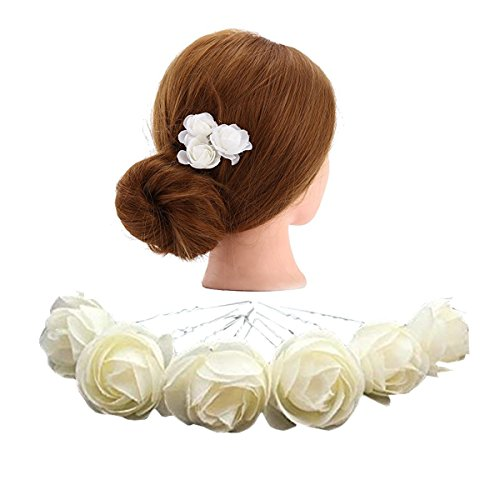 White wedding flower clips amazon kimmyku 10 pcs 118 ivory white flower hair pins clips bridal girl women for wedding prom party mightylinksfo