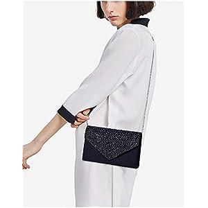 41CvAxsQgQL. SS300  - Bolso de Fiesta Noche Mujer Embrague Cartera de Mano de Satén para Mujer Diamantes, Bolsa de Cadena del Monedero para…