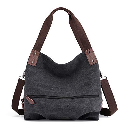 LUI SUI Dame Leinwand Handtasche Damenmode Shopper Umhängetasche Tote Hobo Bag Eimer Tasche für Arbeit Schule Reise Schwarz 02 -