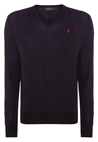 Ralph Lauren-Polo da uomo, in lana Merino-Maglione con collo a V, colore: blu, Nero, rosso scuro, colore: grigio scuro blu navy Large