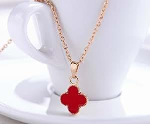 Sweet Alhambra petite roter Klee Anhänger Halskette mit 16'' goldene Farbe Kette