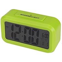 hevoiok Smart reloj de moda calendario tiempo pantalla despertador digital reloj retroiluminación Control de luz LED blanco reloj dormitorio impermeable silencioso reloj de alarma Snooze Wakey (negro, verde, rosa, color blanco)