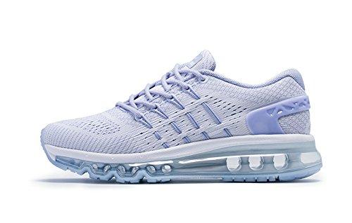 Onemix Damen Air Laufschuhe Sportschuhe mit Luftpolster Turnschuhe Leichte Schuhe Weiß Größe 40 (Grau Mesh-schuhe)