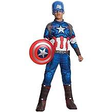 Capitán América - Disfraz deluxe, para niños, talla 5-7 años (Rubies 610425-M)