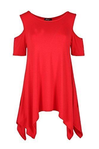 Ample Pour Dames Épaules Tombantes Ourlet Mouchoir Mancheron Bouffant Haut Uni Robe Pour Femmes Rouge