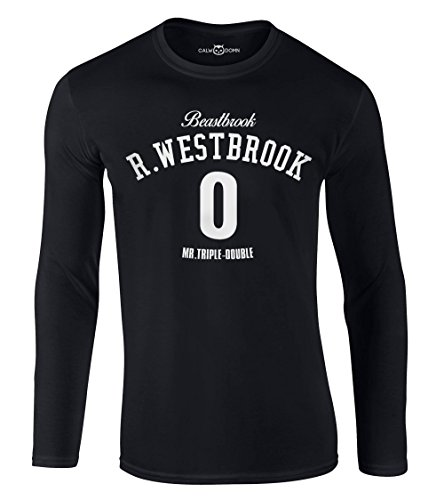 CALWDOMN Russell Westbrook Langarmshirt Beastbrook Long Sleeve Shirt 0 Mr.Triple-Double OKC Thunder Basketball (XL, Schwarz)
