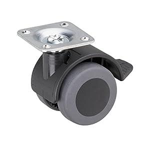 Metafranc Doppelrolle Ø 40 mm - Feststeller - 38 x 38 mm Platte - TPR-Rad - Weiche Lauffläche - Gleitlager - 30 kg Tragkraft / Transportrolle / Containerrolle / Möbelrolle / 802230